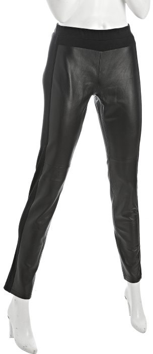Wyatt black leather jersey trim skinny pants