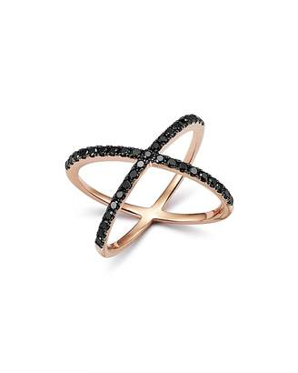 Bloomingdale's Black Diamond Crossover Ring in 14K Rose Gold, 0.40 ct. t.w. - 100% Exclusive