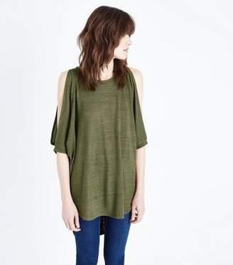 New Look Khaki Crochet Back Cold Shoulder Tunic Top
