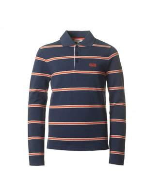 HUGO BOSS Kids Striped Long Sleeved Pique Polo