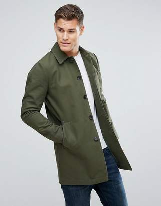 Asos Shower Resistant Single Breasted Trench Coat In Khaki