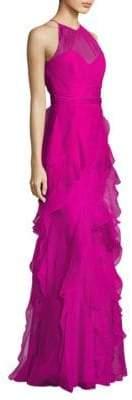 Badgley Mischka Organza Ruffled Silk Gown