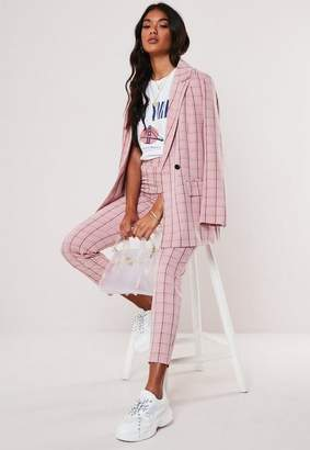 Missguided Pink Plaid Cigarette Pants