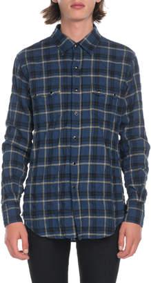 Saint Laurent Men's Plaid Flannel Pocket Sport Shirt