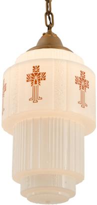 Rejuvenation Art Deco Pendant w/ Large Stenciled Shade