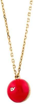Louis Vuitton Wood, Resin & Crystal Ball Pendant Necklace Gold Wood, Resin & Crystal Ball Pendant Necklace