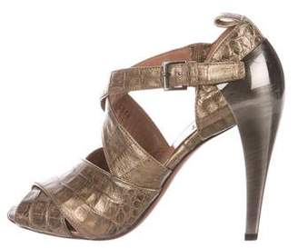 Alaia Metallic Crocodile Sandals