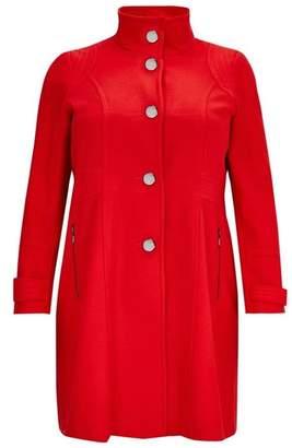 Evans Red Zip Pocket Funnel Neck Coat