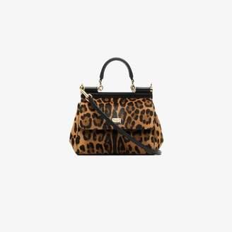 Dolce & Gabbana Brown Sicily Small Leopard Print Tote Bag
