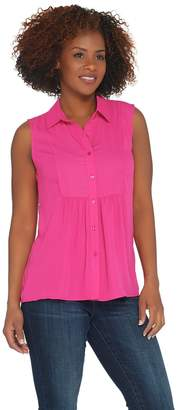 Joan Rivers Classics Collection Joan Rivers Sleeveless Bib Front Blouse with Gathered Detail