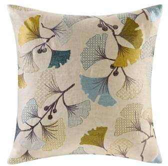 Gingko Bloom Linen Embroidered Pillow 20″x20″
