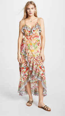 Camilla Silk Wrap Dress with Frill