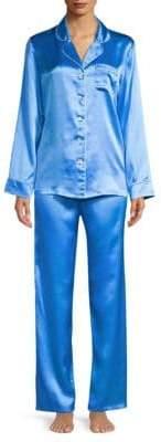 Ginia Contrast-Piping Silk Pajamas