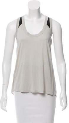 Aiko Sleeveless Leather-Accented Knit Top