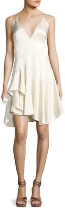 Halston Sleeveless Deep-V Satin Cami Cocktail Dress w/ Ruffled Skirt