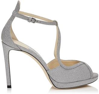 Jimmy Choo FAWNE 100 Silver Fine Glitter Leather Sandals