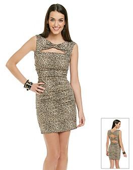 Betsey Johnson Animal Print Ruched Dress