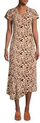 Halston Animal-Print Midi Wrap Dress