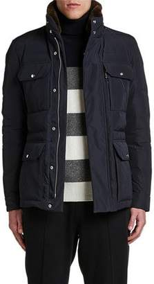 Moncler Men's Jean-Marc Puffer Coat w/ Fur Collar