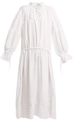 Marques Almeida Marques'almeida - Ruched Neck Drawstring Waist Tencel Dress - Womens - White
