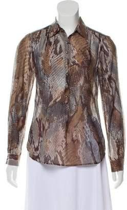 L'Agence Printed Silk-Blend Top