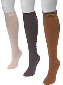 Muk Luks Women's Three-Pair Pack Snowflake KneeHigh Socks