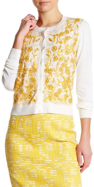 Oscar de la Renta Long Sleeve Embellished Knit Cardigan