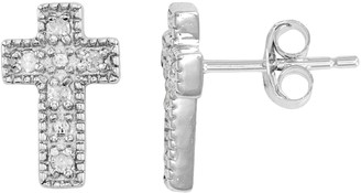 Silver Cross Itsy Bitsy 1/10 Carat T.W. Sterling Stud Earrings