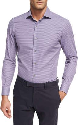 Ermenegildo Zegna Mini-Check Cotton Shirt, Medium Purple