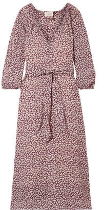 The Great The Derby Floral-print Cotton-gauze Midi Dress - Burgundy