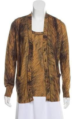 Oscar de la Renta Printed Merino Wool Cardigan Set