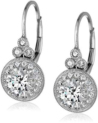 Swarovski La Lumiere Platinum Plated Sterling Silver Zirconia (3.5cttw) Round Antique Drop Earrings