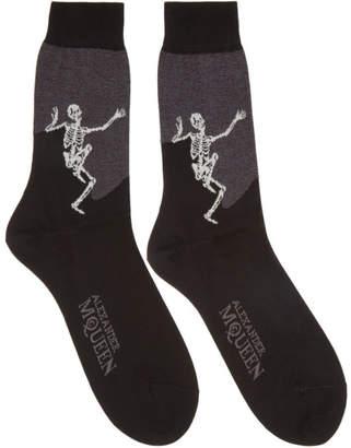 Alexander McQueen Black and Grey Dancing Skeleton Socks