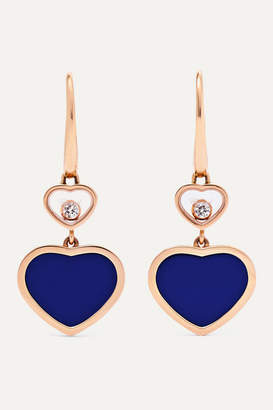 Chopard Happy Hearts 18-karat Rose Gold, Diamond And Lapis Lazuli Earrings