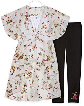 Knitworks Knit Works Floral & Lace Duster Legging Set - Girls' 4-16 & Plus