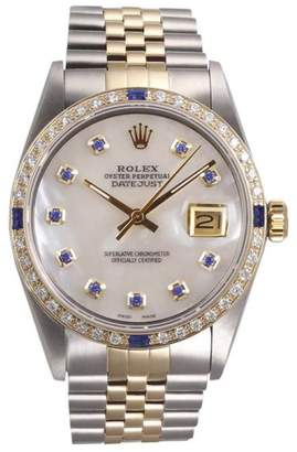 Rolex Datejust II 18K Yellow Gold and Stainless Steel White Mother of Pearl Blue Diamond Dial & Sapphire Diamond Bezel 36mm Watch