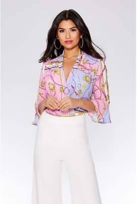 Quiz Pink And Purple 3/4 Sleeve Bodysuit