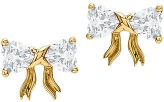 14K Yellow Gold Gemstone Birthstone Bow Post Earrings