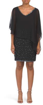 Asymmetrical Chiffon Overlay Sequin Dress