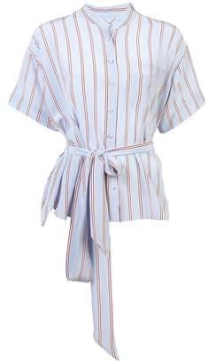 Frame Striped Belted Collarless Shirt