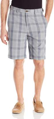 Haggar Men's Cool 18 Expandable Waist Large Glen Plaid Plain Front Short