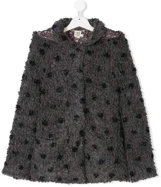 Caffe Caffe' D'orzo TEEN dot detail hooded coat