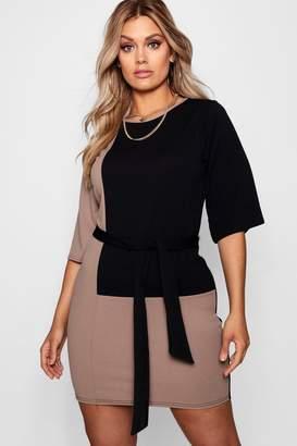 boohoo Plus Colour Block Belted T Shirt Dress