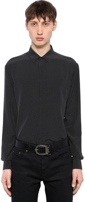 Saint Laurent Yves Micro Polka Dot Silk Shirt