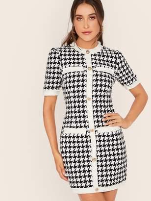 Shein Contrast Trim Frayed Edge Button Up Houndstooth Tweed Dress