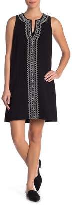 Karen Kane Embroidered Split Neck Tank Dress