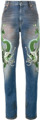 Gucci embroidered dragon jeans