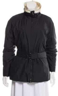 Prada Sport Fur-Trimmed Puffer Coat