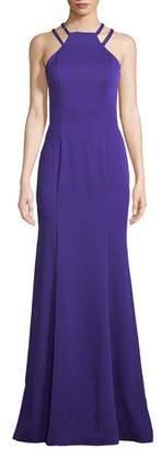 La Femme Strappy Halter Crepe Satin Gown