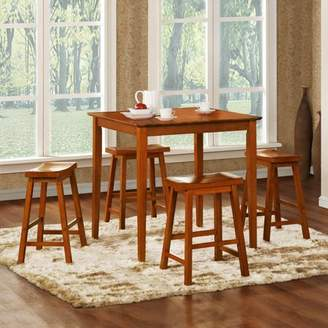 Homelegance Weston Home Saddle Back 5-Piece Counter Height Dining Table Set - Oak